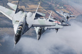 Bulgarian and Polish Air Force Mig-29S Planes Flying over Bulgaria