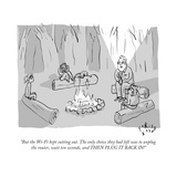 """""""But the Wi-Fi kept cutting out The only choice they had left was to unpl"""" - New Yorker Cartoon"""