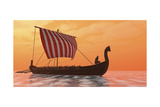 A Viking Longboat Sails Through Calm Ocean Waters