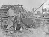 American Civil War Scene of a Deserted Camp and Wounded Zouave Soldier