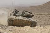 A Merkava Iii Main Battle Tank in the Negev Desert  Israel