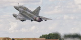A French Air Force Mirage 2000D Taking Off in Spain