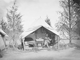 Lieutenant James B Neill Sitting Inside His Tent During the American Civil War