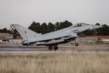 A Royal Air Force Typhoon Fighter Plane Landing in Albacete  Spain