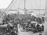 Sailors on Deck of Uss Mendota Gun Boat During American Civil War