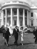 President John F Kennedy and the First Lady in Front of White House