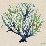 Indigo and Green Coral on Cream II Reproduction d'art par Elizabeth Medley