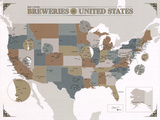 Noble & Notable Breweries of the United States Reproduction d'art par Pop Chart Lab