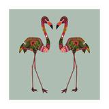 Flamingos Seafoam Reproduction d'art par Sharon Turner
