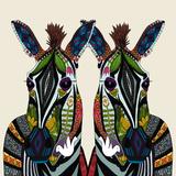 Zebra Love Ivory Reproduction d'art par Sharon Turner