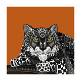 Snow Leopard Orange Reproduction d'art par Sharon Turner