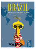 Brazil - Overnight One Stop to Rio De Janeiro - Varig Airlines - Lockheed Super G Constellation Reproduction d'art par Francesco Petit