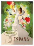 Espana (Spain) - Dancer with Fountain and Birds