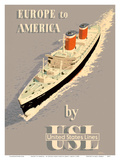 Europe to America - by United States Lines - SS United States Ocean Liner