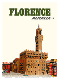 Florence  Italy - Alitalia Airlines - Palazzo Vecchio (The Old Palace)
