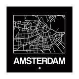 Black Map of Amsterdam Reproduction d'art par NaxArt