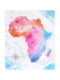 Watercolor Map Africa Pink Blue Reproduction d'art par Anna42f