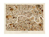 London England Street Map Reproduction d'art par Michael Tompsett