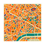 Vector Background Abstract Pattern Paris City Map Trendy Colors Reproduction d'art par EverstRuslan