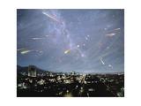 Artwork of Meteor Shower Over a City