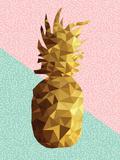 Gold Low Poly Pineapple Design with Retro Shapes Reproduction d'art par Cienpies