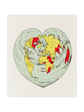 Map of the World Distorted into the Shape of a Heart Reproduction d'art