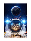 Beautiful Cat in Outer Space. Elements of this Image Furnished Reproduction d'art par Vadimsadovski