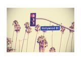 Vintage Retro Toned Hollywood Boulevard Sign, Los Angeles. Reproduction d'art par Maciej Bledowski