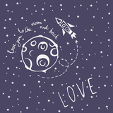 Card Love You to the Moon and Back Reproduction d'art par Happiestsim
