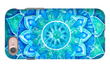 Abstract Blue Painted Picture with Circle Pattern  Mandala of Vishuddha Chakra