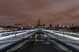 Millenium Bridge  Night Photography  St Paul's Cathedral  the Thames  London