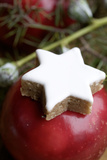 Christmassy Table Decoration  Apple  Star-Shaped Cinnamon Biscuit  Close Up