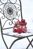 Chair in the Snow with Lantern  Balls from Cord Material