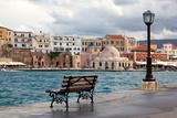 Greece  Crete  Chania  Venetian Harbour  Waterside Promenade  Bench