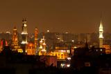 Egypt  Cairo  Islamic Old Town  Minarets  Illuminated