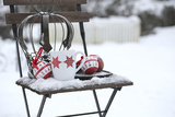 Chair in the Snow with Christmassy Still Life