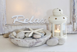 Decoration  White  Window Frame  Lettering  Relax  Lantern  Candle  Bowl  Stones  Starfish