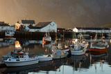 Boats  Harbour  Fjord  Sundown  Hamnoya  Moskenesoya  Lofoten  Northern Country  Norway