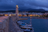 Greece  Crete  Rethimnon  Venetian Harbour  Lighthouse  in the Evening