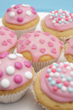 Of Muffin  Icing  Pink  Hearts  Chocolate Beans  Sugar Pearls  Detail  Blur
