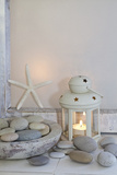 Decoration  White  Window Frames  Lantern  Candle  Bowl  Stones  Starfish