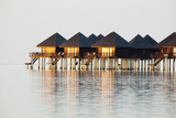 The Maldives  Sea  Lagoon  Water Bungalows  Evening Light