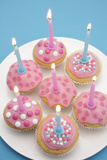 Of Muffin  Icing  Pink  Hearts  Chocolate Beans  Sugar Pearls  Candles  Burn  Detail  Blur