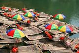 China  Li River  Rafts with Colourful Sunshades