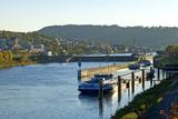Germany  Rhineland-Palatinate  the Moselle  Grevenmacher  Sluice  Barges  Evening Light