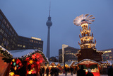 Germany  Berlin  Dusk  Alexanderplatz  Christmas Market  Pyramid  Television Tower