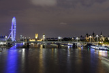 The Thames with London Eye and the Houses of Parliament  at Night  London  England  Uk