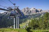Cable Car on the Col Pradat  in the Valley Kolfuschg  Sella Behind  Dolomites  South Tyrol