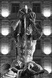Italy  Rome  Fountain  Fontana Del Tritone  Fountain Figure  Sea God  Detail  Lighting  Night  S/W
