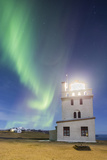 Lighthouse at the Cape Gardar  Aurora Borealis  Vik  South Iceland  Iceland